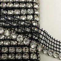 "HIR-9012  Czech Crystal Stone Size 5mm rhinestone Netting Edge trim 3/4"" Sold by the Yard"