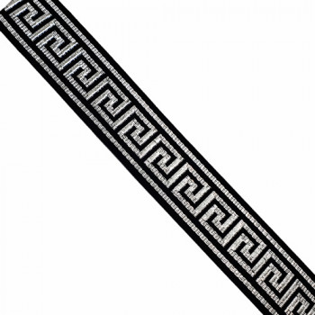 "JM5-028 Metallic Silver and Black, Greek Key  Jacquard Ribbon - 3 Sizes: 1/2"", 1"", 1-1/2"""