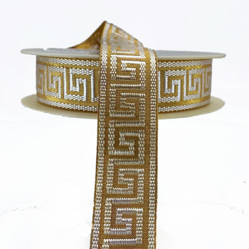 JM5-031 Metallic Gold and Off-White Jacquard Ribbon with Greek Key Design, 1-1/8""