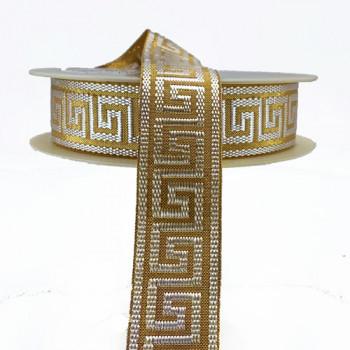 "JM5073 Metallic Gold and Off-White Jacquard Ribbon with Greek Key Design, 1-1/8"""
