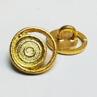 M-072-D Gold Metal Fashion Button, Priced per Dozen.