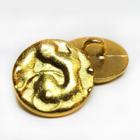 M-073-D Gold Metal Fashion Button, 2 Sizes, Priced per Dozen.