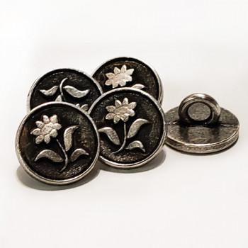 M-1276-D Metal Flower Button Priced By the Dozen.