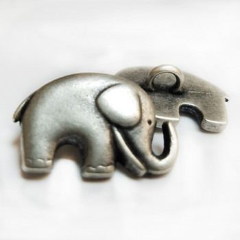 M-1321 Antique Silver Elephant Button
