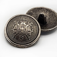 """M-9180 Antique Silver Military-Look Coat Button with Crest, 1"""" Only"""
