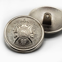 """M-9180B Matte Silver Military Coat Button with Crest, 1"""" Only"""