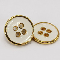 "M-1264 Gold Metal Button with White Epoxy, 5/8"""
