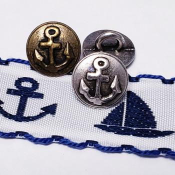 """M-1277 Antique Silver or Antique Gold Anchor Shirt Button, 7/16"""""""