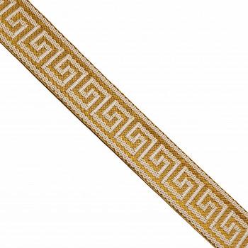 "JM5-027 Metallic Gold, Greek Key  Jacquard Ribbon, 1-1/2"""