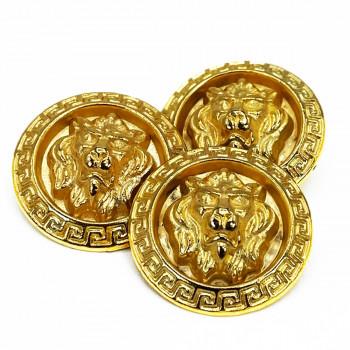"""M-7914-L Matte Gold Lion's Head Metal Button, 1-1/8"""""""