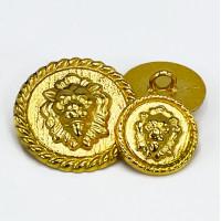 M-7931  Matte Gold Lion Head Metal Fashion Button, 3 Sizes