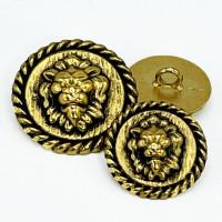 M-7931AG  Antique Gold Lion Head Metal Fashion Button, 3 Sizes