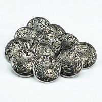 M-817A Antique Silver Shirt Button with Crest, Sold by the Dozen