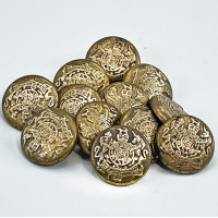 M-817AG Antique Gold Shirt Button with Crest, Sold by the Dozen