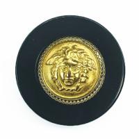 "MLP-1710 Black and Gold Medusa Button , 1-1/4"""