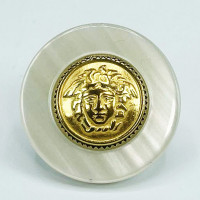 """MLP-1710W White and Gold Medusa Button , 1-1/4"""""""
