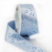 "MO-346 Blue Satin Baby Feet Ribbon, 1-1/2"" Sold by the Yard"