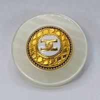 """MP1713W  1-1/4""""  Gold CC Button and White  Epoxy"""