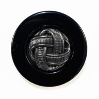 """MP1716  1 -1/4""""  Antique Silver Design Center and Black Rim"""