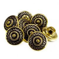 "MTL-22-D  Antique Gold Metal Fashion Button, 7/16"" &  5/8""  - Priced By the Dozen"