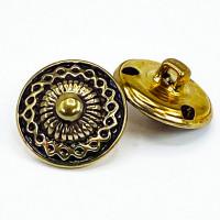 "MTL-23 Antique Gold Metal Fashion Button, 3/4"""
