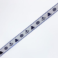 "40926 Children's Nautical-Theme Jacquard Ribbon, 3/4"" - Sold by the Yard"