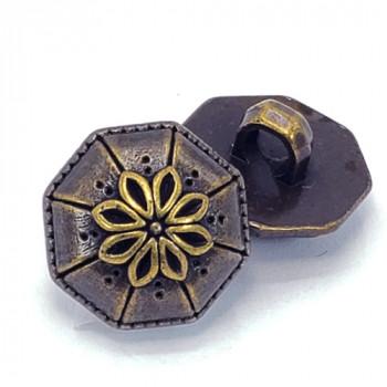 "NVP-306-Antique Brass Fashion Button, 5/8"""