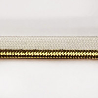 """P-59658 3/8"""" White- Gold Metallic Lip Cord Piping Trim,  Sold By The Yard"""