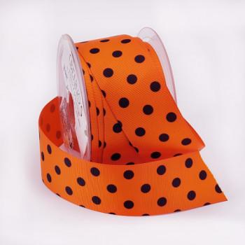 "R9121 - Dot ribbon printed Orange and Black  grosgrain 1-5/8"" 12 yard Roll"