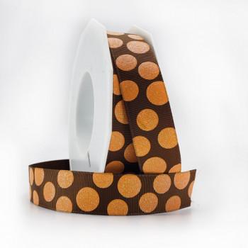 "R988 - Dot ribbon printed Brown and Orange grosgrain 7/8"" 20 yard Roll"