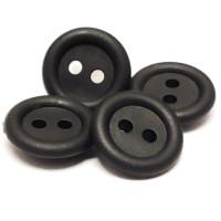 """RB-1501 - Black Rubber 5/8"""" Button, Priced per Dozen"""