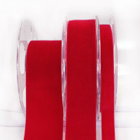 012 Red Swiss Velvet Ribbon, 5 Sizes - Sold by the yard