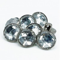 """RHP-090 5/8"""" Silver and Acrylic Crystal Stone Button. Sold by the Dozen."""