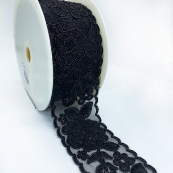 """S-03385  Col. 3  Black Beaded Lace Ribbon - 3 """""""