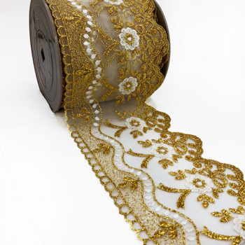 S-03256  Col. 3 Metallic Lace Gold And White Ribbon - 4-3/4""