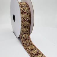 "07733B Col.8  Metallic Gold and Burgundy  Jacquard Ribbon - 1-3/4"" Sold Per Yard"