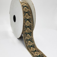 "07733B Col.53 Metallic Gold and Dk. Green Jacquard Ribbon - 1-3/4"" Sold Per Yard"