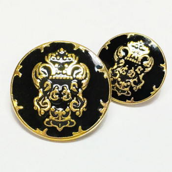 13084 Gold Blazer Button with Black Epoxy, 2 Sizes