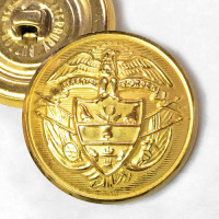 14162 - Matte Gold Metal Coat and Overcoat Button, 1-1/8""