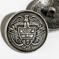 14170 - Antique Silver, Cast Metal Coat and Overcoat Button, 1-1/8""