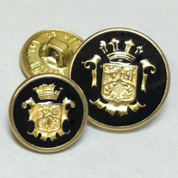 15070 Gold Blazer Button with Black Epoxy, 2 Sizes