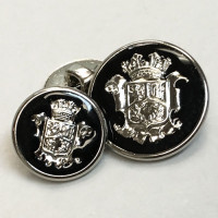 15075 Silver Blazer Button with Black Epoxy - 2 Sizes
