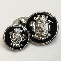 15075 Silver Blazer Button with Black Epoxy - 2 Sizes