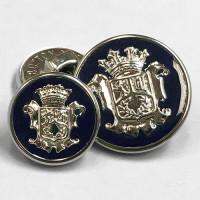 15080 Silver Blazer Button with Dark Navy Epoxy- 2 Sizes