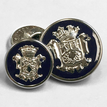 15080 Silver Blazer Button with Dark Navy Epoxy - 2 Sizes