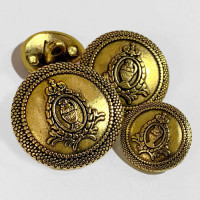 17-130  Antique Gold Blazer Button - 3 Sizes