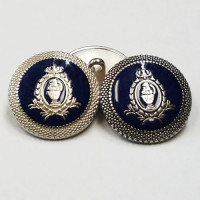 17-250N Blazer Button in Silver or Antique Silver with Navy Epoxy, 3 Sizes