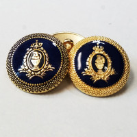 17-550N Blazer Button in Matte Gold or Antique Gold with Navy Epoxy, 3 Sizes
