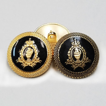 17-550B  Blazer Button in Matte Gold or Antique Gold with Black Epoxy, 3 Sizes
