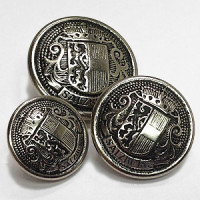 29610 Antique Silver Salzburg Crest Button, in 3 Sizes